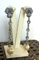NEW - VINTAGE HULTQUIST SILVER PLATED EARRINGS PEARLS SWAROVSKI CRYSTALS DROP