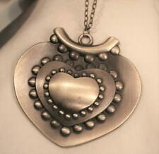 Shiny Brasstone Heart Pendant Necklace Huge Shiny Metal Beaded Sculpted