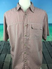 The North Face Mens Shirt Size L Short Sleeve Red Button Front Casual Plaid A10