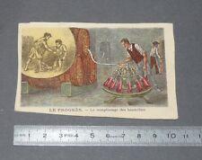 CHROMO 1890-1910 BON-POINT IMAGE ECOLE LE PROGRES REMPLISSAGE DES BOUTEILLES