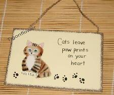 Wood Sign Country Magnet CAT Leave Paw Prints On Your Heart Buy 2 get 1 FREE