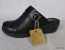 NWT BORN Handcrafted Footwear Black Leather Wedge Clog AVOCA Shoes 7M