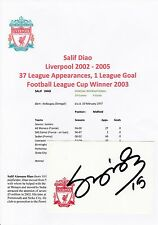 SALIF DIAO LIVERPOOL 2002-2005 ORIGINAL HAND SIGNED CRESTED CARD
