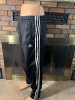 Vintage Adidas Sports Tear Away Snap Track Pants Mens Size Large 3 Stripes Black