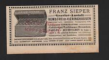 REMSCHEID-VIERINGHAUSEN, Anzeige 1909, Franz Sieper Gravier-Anstalt Stahlstempel