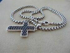 "DAVID YURMAN Blue sapphire cross chain pendant sterling silver 20"" Long"