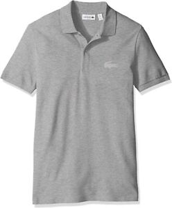 Mens Lacoste Polo Shirt Slim Fit Grey Cotton Polo NEW