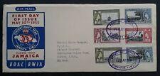 RARE 1955 Jamaica 300th Anniv British Territory FDC ties 6 stamps Kingston
