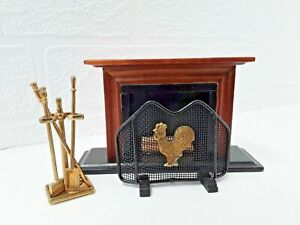 Country Cottage Dolls House Fireplace Fireguard Fire Companion Set Wood Metal...