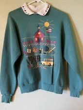 Vintage 80's Women'S Sweatshirt Teacher School Bus Elementary Education
