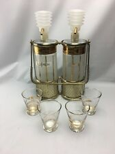 Mid-Century Modern Fred Press Rye & Scotch Decanters, Push Pumps, Caddy, 4 Cups