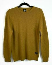 Stussy Mustard Color Chevron Elbow Patch Wool Sweater Size L Men's