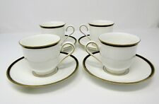 Lenox KRISTY 4 Cup and Saucer Sets Fine China Black Gold Rim
