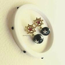 Vintage AVON Star Spangled Dangle Earrings & Lucite Bangle Red/Wh/Blue Pierced