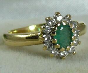 18CT GOLD  EMERALD & .25CT DIAMOND RING ENGLISH HALLMARKED- SZ I -  3.9 GRAMS