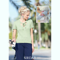 Sirdar Womens Knitting Pattern - 7310 - Top and Gloves - Cotton 4 Ply