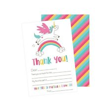 25 Unicorn Kids Thank You Cards, Fill In Thank You Notes For Kid, Blank Perso.