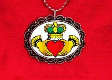 CLADDAGH SHAMROCK HEART CROWN IRISH LOVE FRIENDSHIP PENDANT NECKLACE