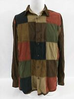 North River Outfitters Mens Square Color Block Long Sleeve Shirt Large