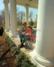 PRESIDENT JOHN F. KENNEDY WITH JOHN, JR. AND HIS TOY HORSE - 8X10 PHOTO (BB-227)