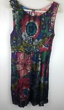 Desigual Dress size 42 colorful print sleeveless black mesh overlay womens