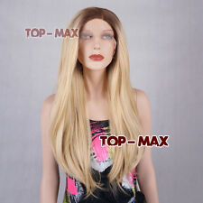 60CM Long Lace Front Heat Resistant Full Brown Mixed Blonde Wavy 24 Inches Wig