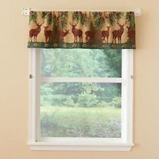 """Deer Cabin Pine Forest Lodge Tapestry Window Valance, Modern Rustic 54""""x15""""-NEW"""