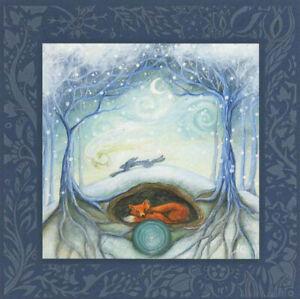 YULE CHRISTMAS GREETING CARD Winters Tale PAGAN GODDESS FOX HARE AMANDA CLARK