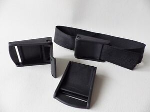 2 x Black Plastic Cam lever flap Buckles for 35mm Webbing