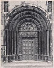 D2317 Battistero di Parma - La Porta della Vergine - Stampa d'epoca - 1925 print