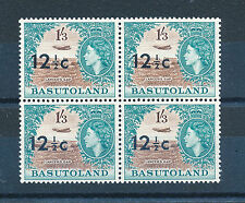 BASUTOLAND 1961 DEFINITIVES SG65 12½c ON 1s.3d. OVERPRINTED BLOCK OF 4 MNH