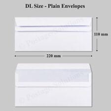 100 DL Envelopes 90gsm White Plain 220mm X 110mm Self Seal Office Letter Pack