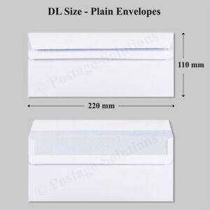 100 DL Envelopes White Plain 90gsm 220mm x 110mm Self Seal Office Letter Pack