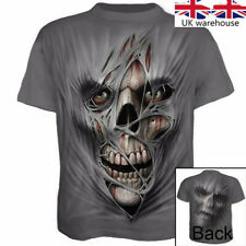 Casual Short sleeve silk Tops Skull Fashion 3D Printed Men's T-shirt Clothing UK
