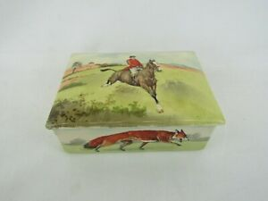 """Royal Doulton Fox Hunting Cigarette Box Hand Painted 5"""" X 3.5"""" Made In England"""