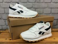 REEBOK UK 1 EU 32 WHITE NAVY BLUE LEATHER CLASSIC TRAINERS BOYS CHILDRENS