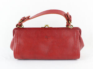 Il Bisonte Auth Red Leather Kiss Lock Closure Satchel Handbag