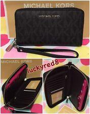 NEW Michael Kors Signature Jet Set  Flat MF Phone Case Wristlet /Wallet in Black