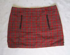 TOPSHOP Women's Red Tartan Mini Skirt with Zip Pocket Detailing - Size US 8