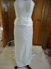 Roberta Of California Ivory Lace Strapless Wedding Dress Waist Rushing Bow