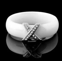 Mode Schmuck Frauen Ring Mit AAA Kristall  X  Keramik Weiß 6 mm Breit  (25KL)