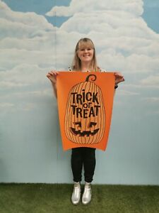 50x70cm Vinyl Halloween Trick Or Treat Pumpkin Poster Decoration Prop Party HW