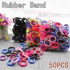 50Pcs/Lot Black Colorful Elastic Hair Band Headwear Rubber Bands Ponytail