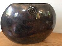 Vtg Lino Sabattini Patina Silverplate Spiral Modern Italian Oval Vase Italy 12x9