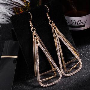 Fashion Chic Trangle Gold Earrings Ear Studs Clear Crystal Artificial Diamonds