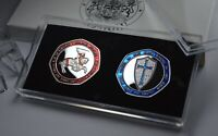 Knights Templar Silver Commemoratives in Display Case and Box. Enamel. Masonic