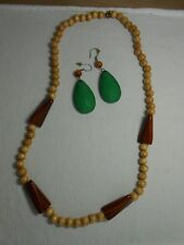Necklace Wood & Plastic Beads Tan  & Pierced Green Earrings lot