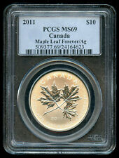 2011 Canada $10 Silver Maple Leaf Forever / Ag PCGS MS69