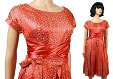 50s Party Dress Sz S Vintage Orange Red Floral Satin Brocade Cocktail Prom Gown