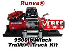 9500lb New Runva 12V Towing Recovery Electric Winch Kit W/ Short Drum *TT Kit*